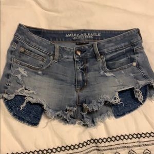 Low rise distressed shorts